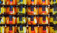 A wall of marinated fettas, available from High Valley Mudgee Cheese Co
