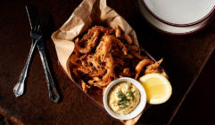 A must-try appetiser: Hawkesbury River  prawns with black pepper mayo.