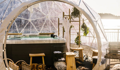 Inside of the hot tub igloo set-up at Hotel Pier One, Walsh Bay.