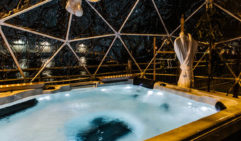Inside the hot tub igloo at Hotel Pier One, Walsh Bay.