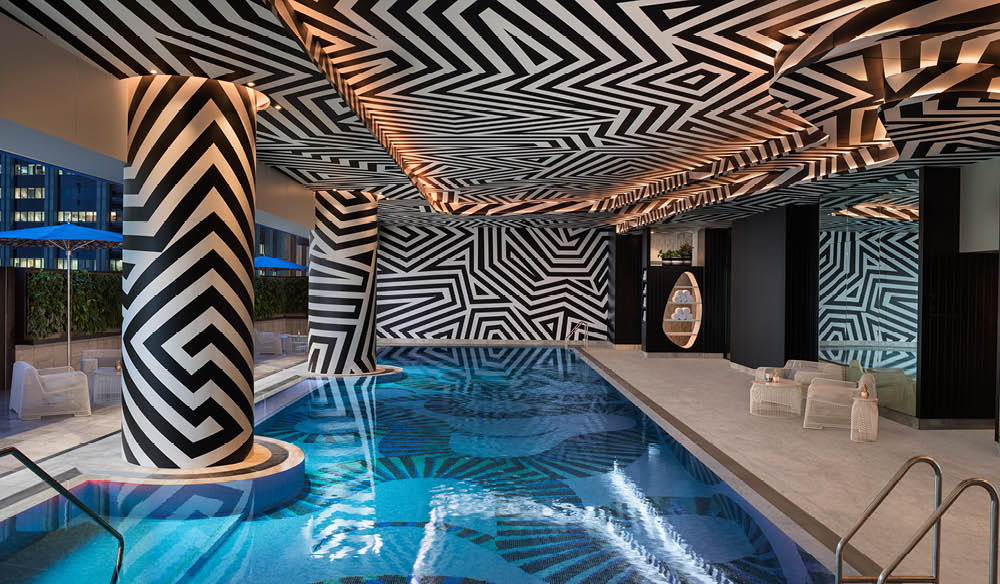 The pool inside the W Hotel, Brisbane.
