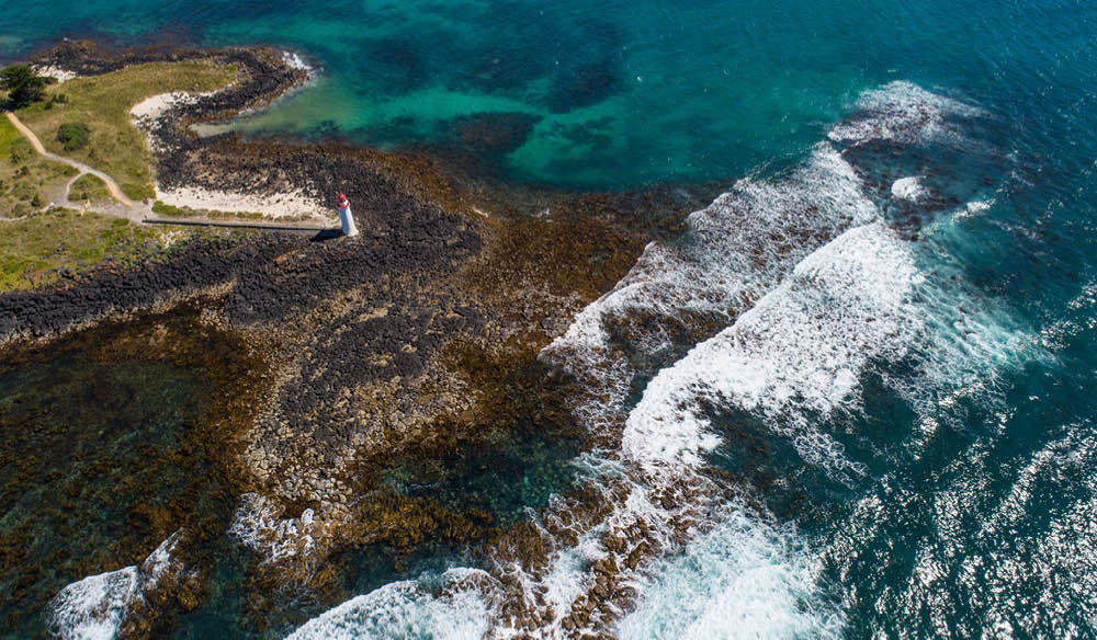 Birds eye view above the Port Fairy foreshore.