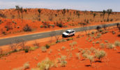 Darwin Australian red center landscape on a road from Uluru to Alice Springs.