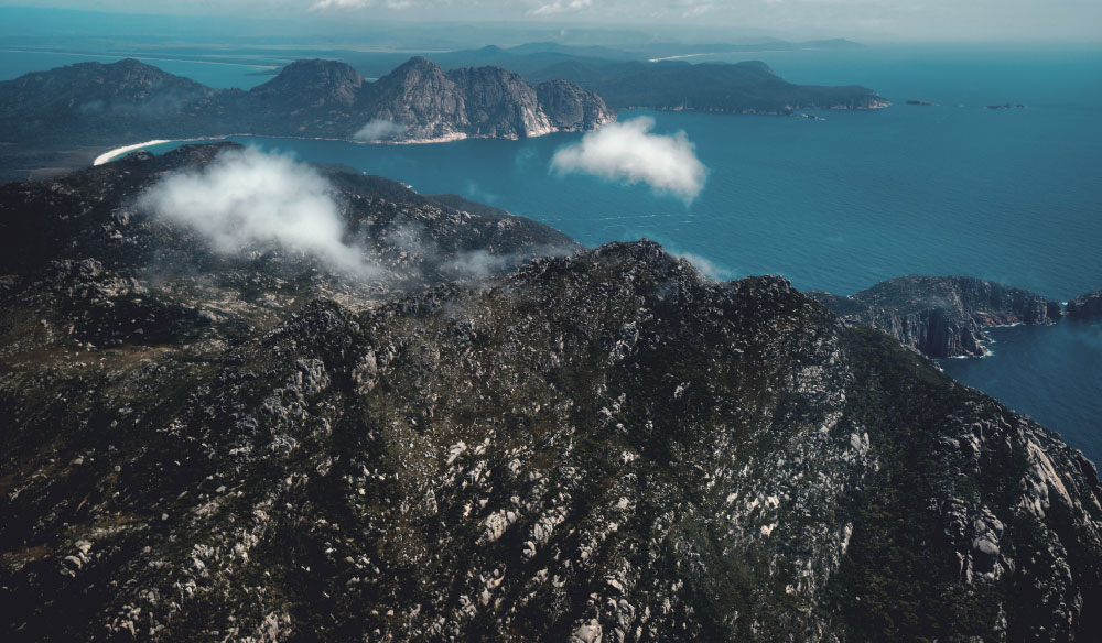 Freycinet Peninsula and Wineglass Bay from the air, Tasmania.