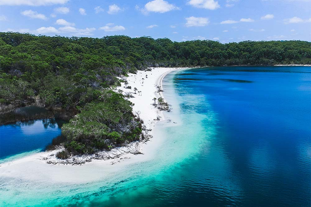 The delightfully clear water at Fraser Island is unlike anything else