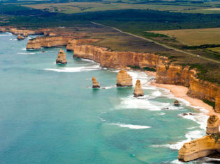 The Twelve Apostles and Great Ocean Road from the air