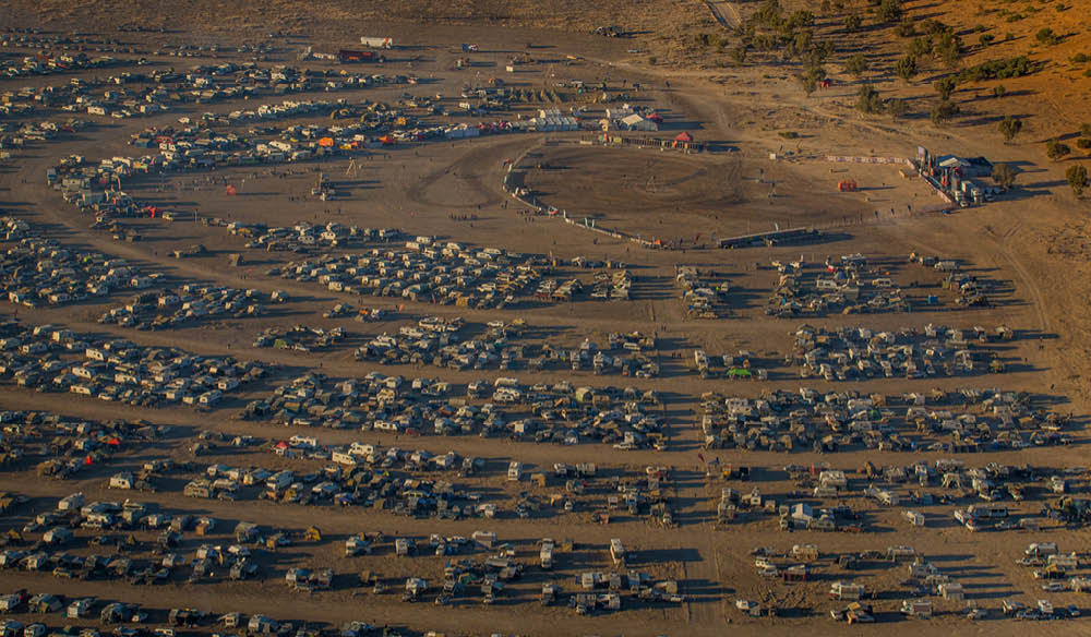A bird's eye view of the Big Red Bash Festival in Birdsville.