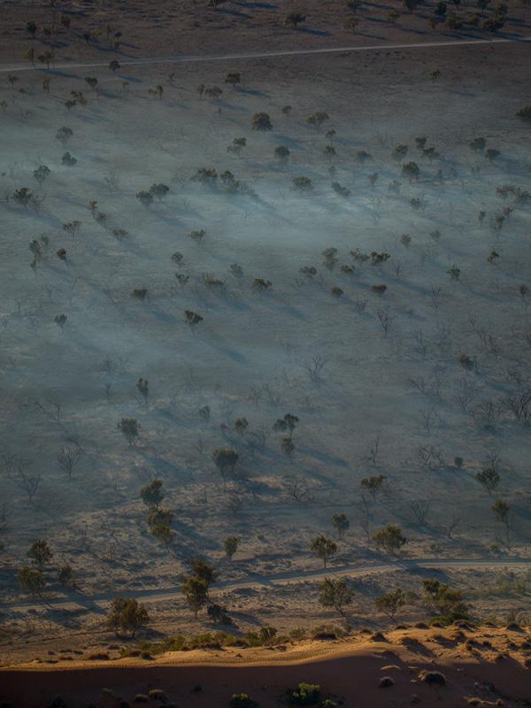 The deserted terrain at the Big Red Bash festival, Birdsville