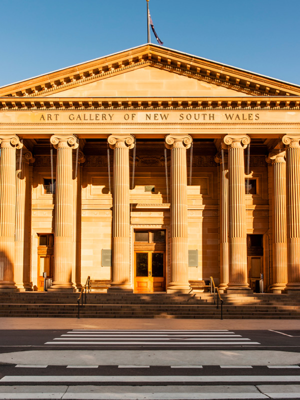 Art Gallery of New South Wales in Sydney in the spring sunshine. It was established in 1880, it is the most important public gallery in Sydney and the fourth largest in Australia.