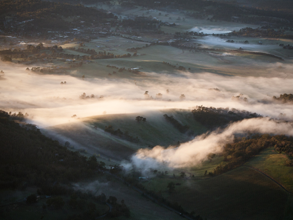 Fog rolls across hills at sunrise in the Yarra Valley in Victoria, Australia.