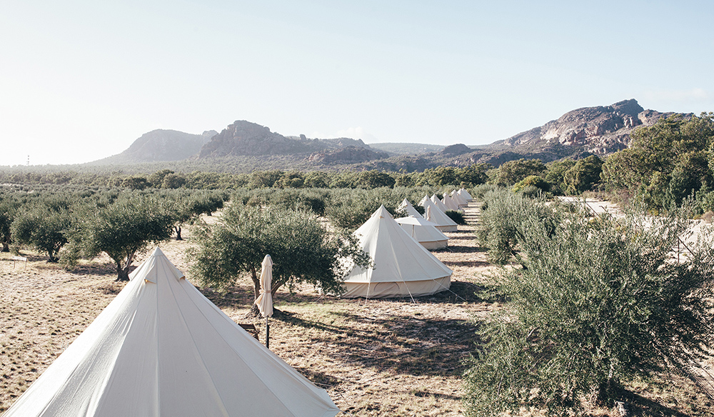 10 premium canvas bell tents sit on the campsite (Photo: Charlie Kinross)