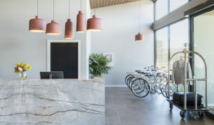 Step into Abode's cool reception area