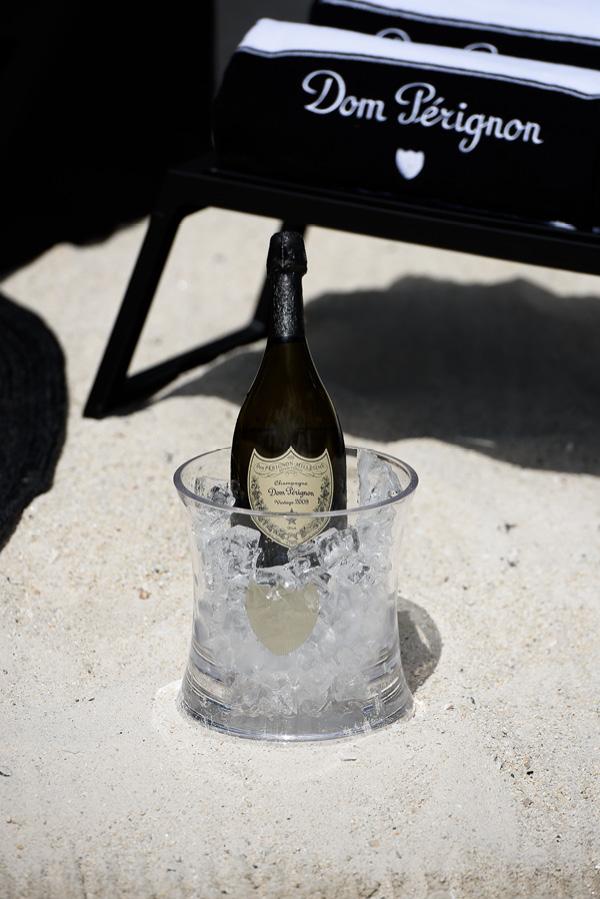 Dom Perignon on the beach.