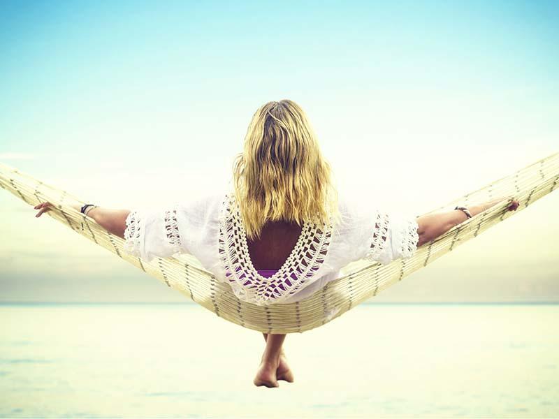 girl in hammock on island