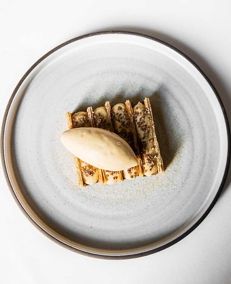 Desert at est. - caramelized apple, sobacha, artichoke cream, miso-brown butter ice-cream