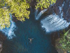 Aerial view of waterhole in NT