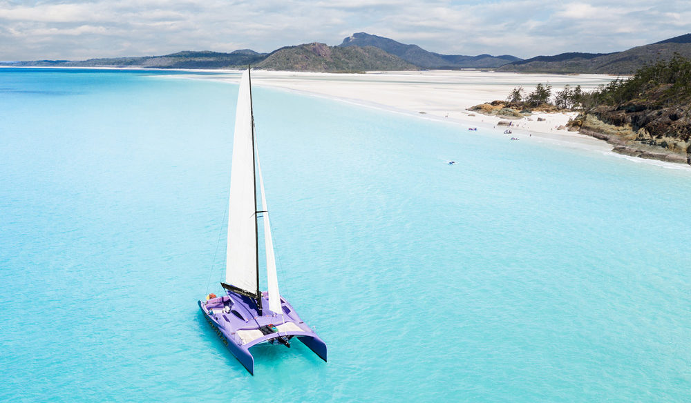 Catamaran on water in The Whitsundays