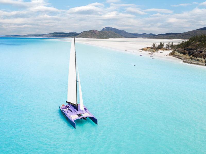 Catamaran on water in The Whitsundays