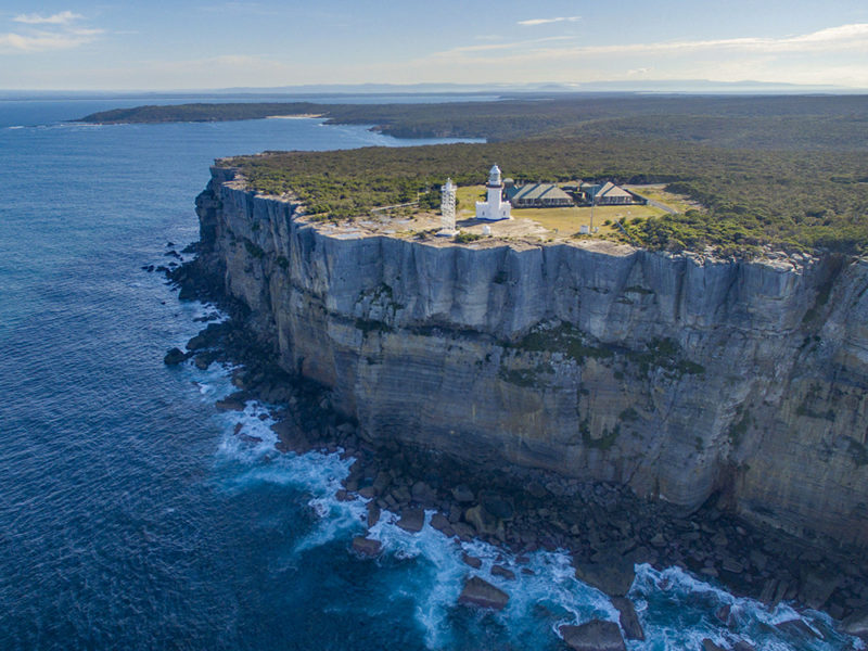 Point Perpendicular Lighthouse sitting on the Beecroft Peninsula at the northern entrance to Jervis Bay.