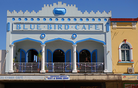 Historic Blue Bird Cafe building, now housing the Bodhi Cafe