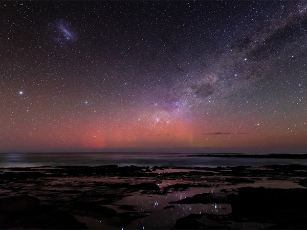 Starlight reflecting in the rock pools overlooking Bass Strait, adjacent to the Marengo Marine Park in Apollo Bay