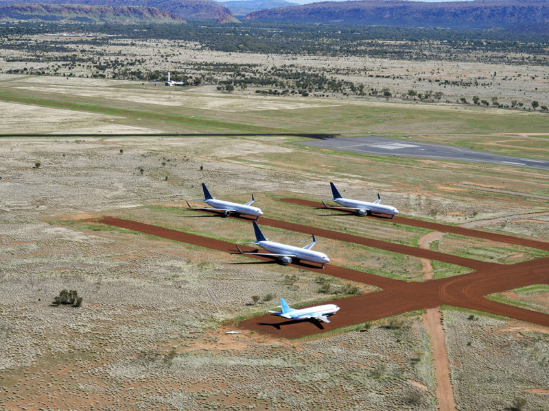 Aircrafts on field at Alice Springs airport