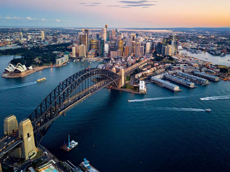 aerial of Sydney Harbour Bridge