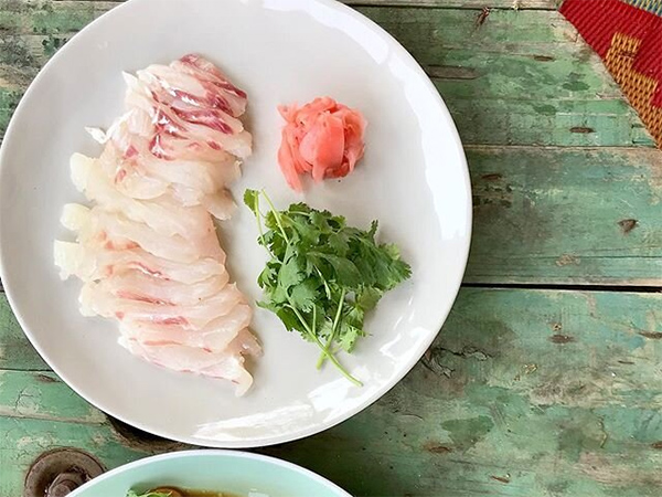 woody head snapper sashimi from The French Pantree