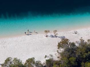 lake mckenzie aerial shot fraser island qld