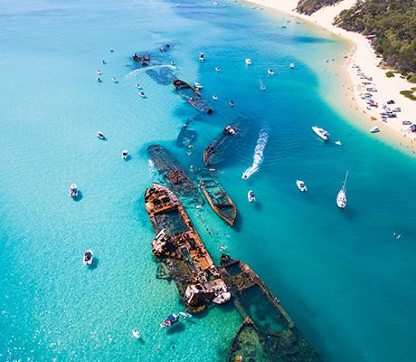 Aerial of Tangalooma Island Resort, Moreton Island