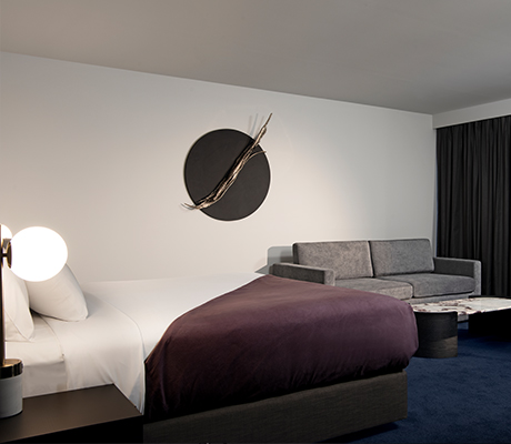 Midnight Hotel room with Thomas Bucick artwork, Canberra