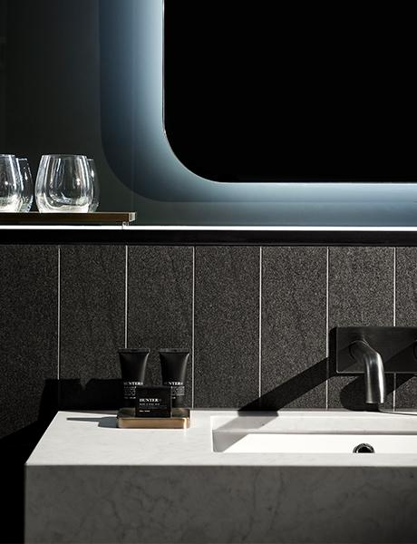 Midnight Hotel bathroom, Hunter Lab products, Canberra