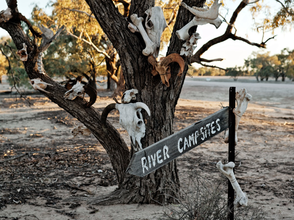 Sign to the river campsites at Trilby Station